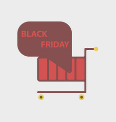 Flat icon of shopping cart black friday vector