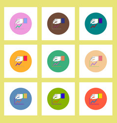 flat icons set of progress statistics and hand vector image