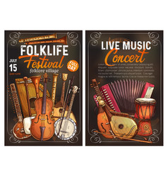 Folk music festival poster with ethnic instrument vector