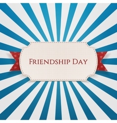 Friendship Day Badge on red Ribbon vector