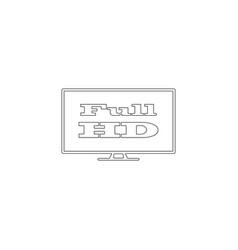 Full hd widescreen tv flat icon vector