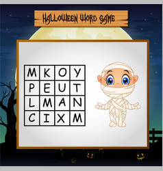 Game halloween find the word of mummy vector