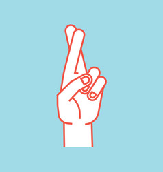 Gesture lucky sign stylized hand with two vector