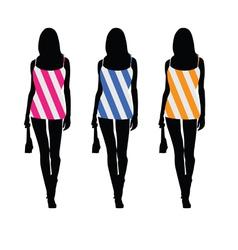 Girls in beauty dress color vector