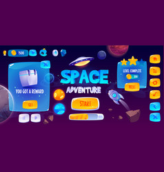 Graphic user interface for space adventure game vector