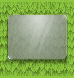 green leaves glass panel vector image