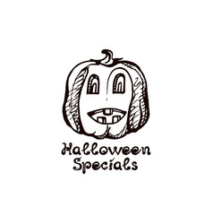 Halloween hand drawn pumpkin with handwritten vector
