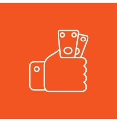 Hand holding money line icon vector