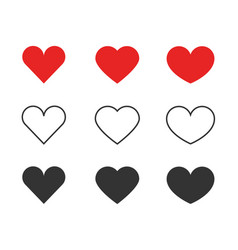 heart icons collection of different red and black vector image