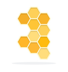Honeycomb flat material design isolated object on vector