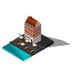 isometric 3d house sea restaurant denmark co vector image