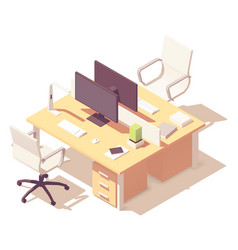Isometric office desk vector