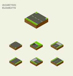 Isometric way set of strip subway driveway and vector