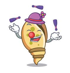 Juggling sea shell mascot cartoon vector