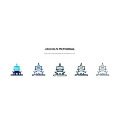 Lincoln memorial icon in different style two vector