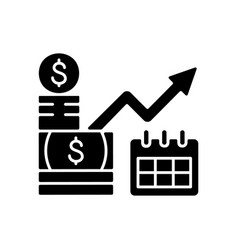 long term investment black glyph icon vector image