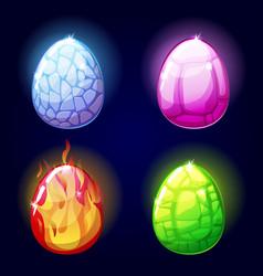 Magic set icons dragon eggs game elements vector