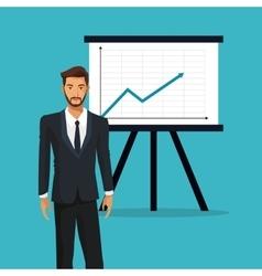 man business office presentation financial graph vector image