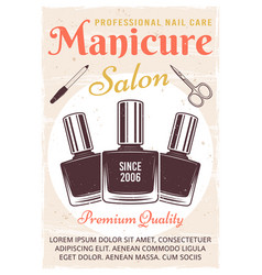 Manicure salon vintage poster with nail polish vector