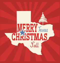 Merry christmas texas greeting card american vector