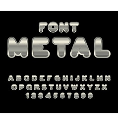 Metal font ABC of iron Steel alphabet Metallic vector image