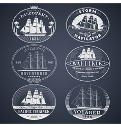 Nautical labels white vector image