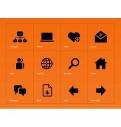 Network icons on orange background vector image