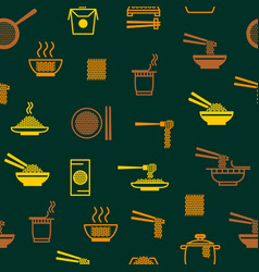 Noodle thin line seamless pattern background vector