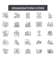 Organisation line icons signs set vector