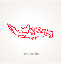 Outline map of indonesia marked with red line vector