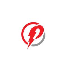 P letter lightning logo template vector