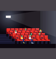 People watching movies inside a theater during vector