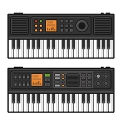 Piano Roll Digital Synthesizer Midi Keyboard Set vector