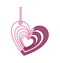 Pink color silhouette multiple love heart figure vector