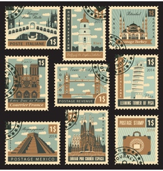 Postage stamp city vector