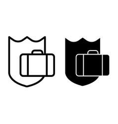 protection luggage line and glyph icon suitcase vector image