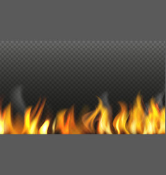 realistic fire background flame isolated on vector image