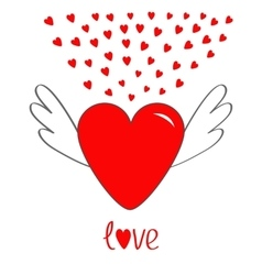 Red heart with wings Cute cartoon contour sign vector