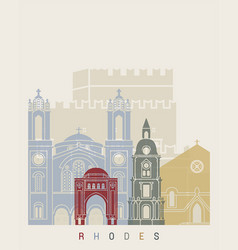 rhodes skyline poster vector image