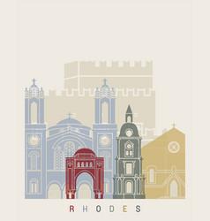 Rhodes skyline poster vector