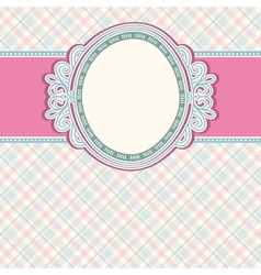 Round label on color checked background vector