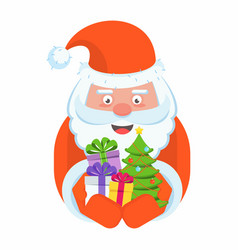 santa claus with a handful of gifts vector image