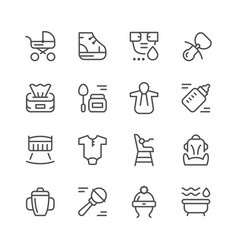 Set line icons of newborn vector