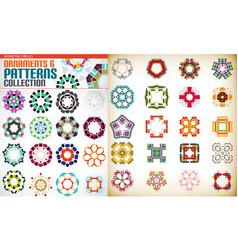 set of colorful geometric symmetric shape vector image