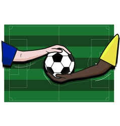 Soccer football field hand player and ball vector image