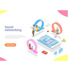 Social media network flat isometric vector