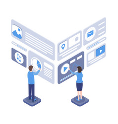 software testing isometric vector image