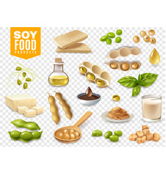 soy food products transparent set vector image