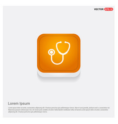 stethoscope icon orange abstract web button vector image