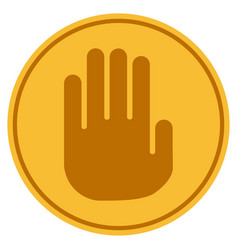 stop hand gold coin vector image